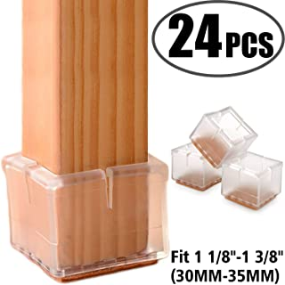 "24Pack Anwenk Chair Leg Floor Protectors Silicone Chair Leg Protectors Leg Caps Furniture Protectors Table Chair Feet Protectors Square 1 1/8""-1 3/8"" 
