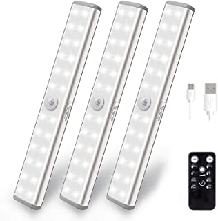 Litake Under Cabinet Lighting Rechargeable, 20 LED Stick On Magnetic Under Counter Lighting with Remote,Dimmable and Timin...