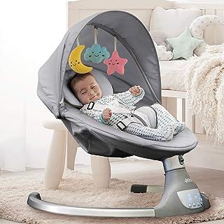 Nova Baby Swing para bebés ? columpio portátil motorizado, altavoz de música Bluetooth con 10 canciones preestablecidas, mando a distancia, gris ? Jool Baby