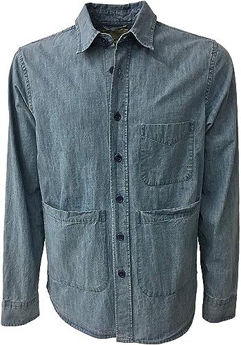 Aspesi Veste Chemise Homme en Jeans Clair Mod A CE84 C001 Ut-Chemise 100% Coton