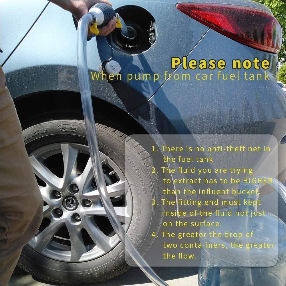 Gas Oil Water Fuel Transfer Siphon Pump with 2M Syphon Hose Portable Widely Use Hand Fuel Pump Oil Sucker Car Manual Fuel Tank Suction Hose Oil Pump,Gasoline Siphone Hose 1 PCS