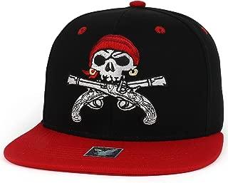Trendy Apparel Shop Pirate Skull Guns Embroidered Flatbill Cotton Snapback Cap