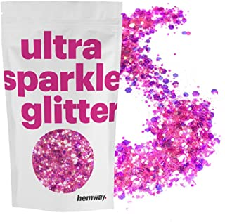 Hemway Hot Pink Iridescent Mix Glitter Chunky Multi Purpose Dust Powder Arts & Crafts Wine Glass Decoration Weddings Flowers Cosmetic Face Eye Body Nails Skin Hair Festival 100g