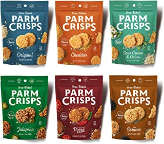 ParmCrisps 6-count Variety, KETO snacks, 1.75 ounce bags, 100% Cheese, Gluten Free