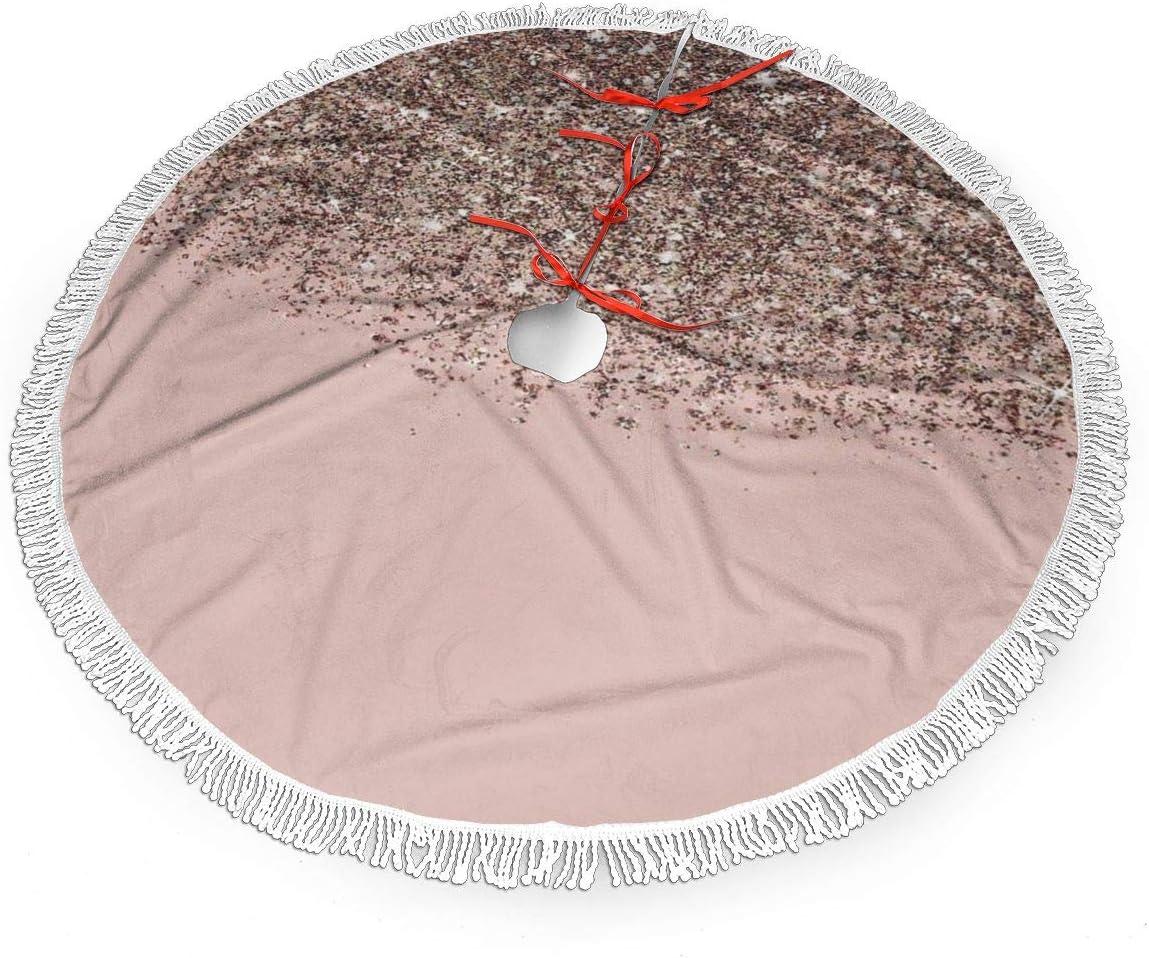 Amazon Com Vgfjhndf Blush Pink Rose Gold Printed Christmas Tree Skirt Tree Mat With Tassel Xmas Tree Ornament Christmas Decoration Accessory Home Kitchen