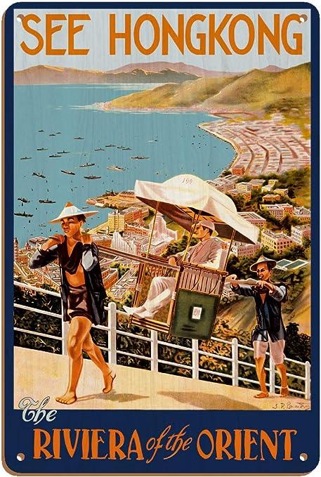 Hong Kong Riviera Orient Vintage World Travel Art Poster Print Giclee