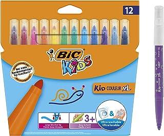 BIC Kids Kid Couleur XL Feutres de Coloriage à Pointe Large, Parfait pour l'école,Facile A Tenir, Couleurs Assorties, Etui...