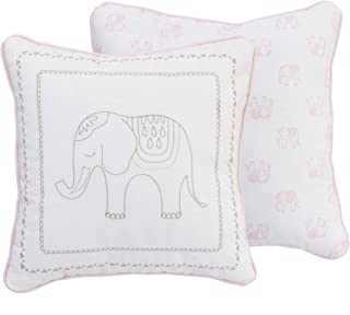 NoJo Serendipity Elephant Decorative Pillow, Pink/Ivory/Grey