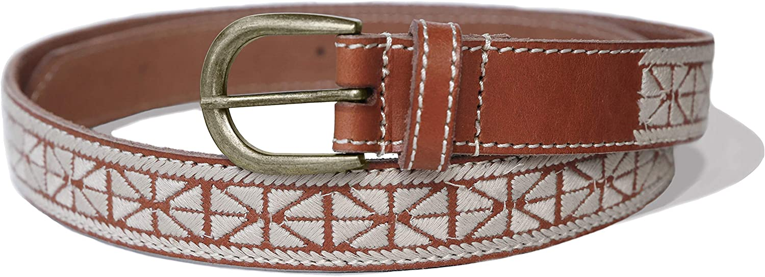 Lucky Brand Women's Textured Embroidered Leather Skinny Belt