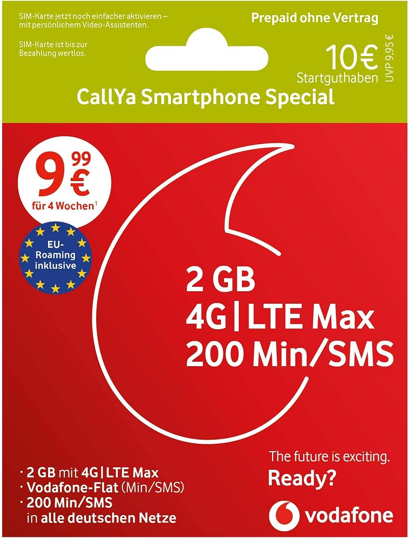 Vodafone Callya Smartphone Special inkl. 200€ Startguthaben Prepaid SIM  Karte ohne Vertrag im D20 Netz