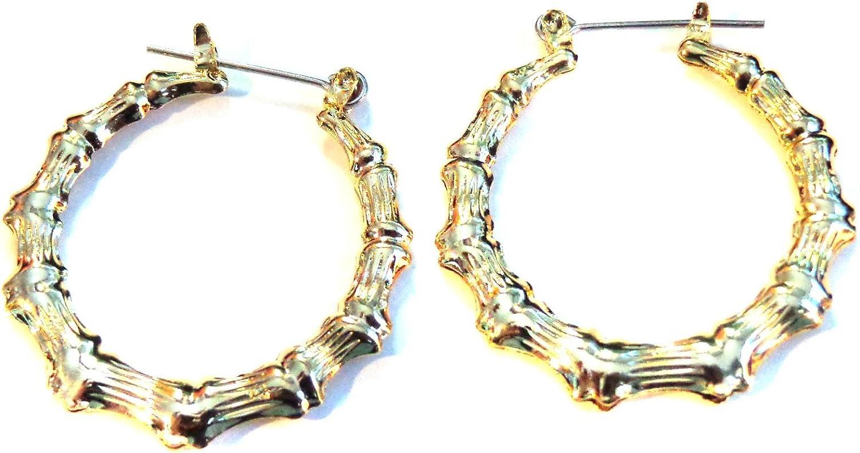 Bamboo Hoop Earrings 2 Inch Hoops Gold Tone Bamboo Hoop Earrings