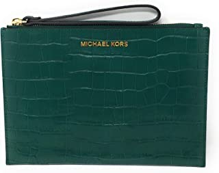 110297e8afa6 Michael Kors Jet Set Travel Embossed Leather XL Zip Clutch in Emerald