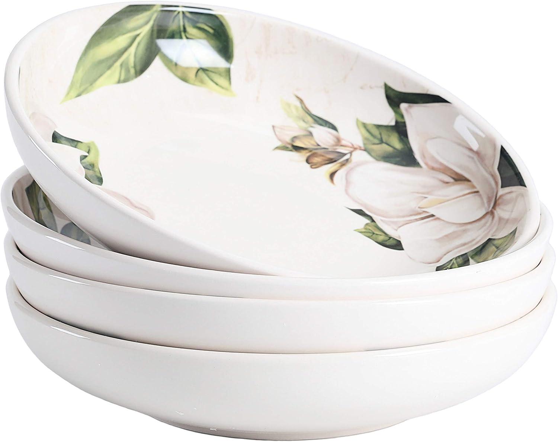 Bico Magnolia Floral Ceramic 35oz Mail order Dinner for of Pa Bowls 4 Set Large-scale sale