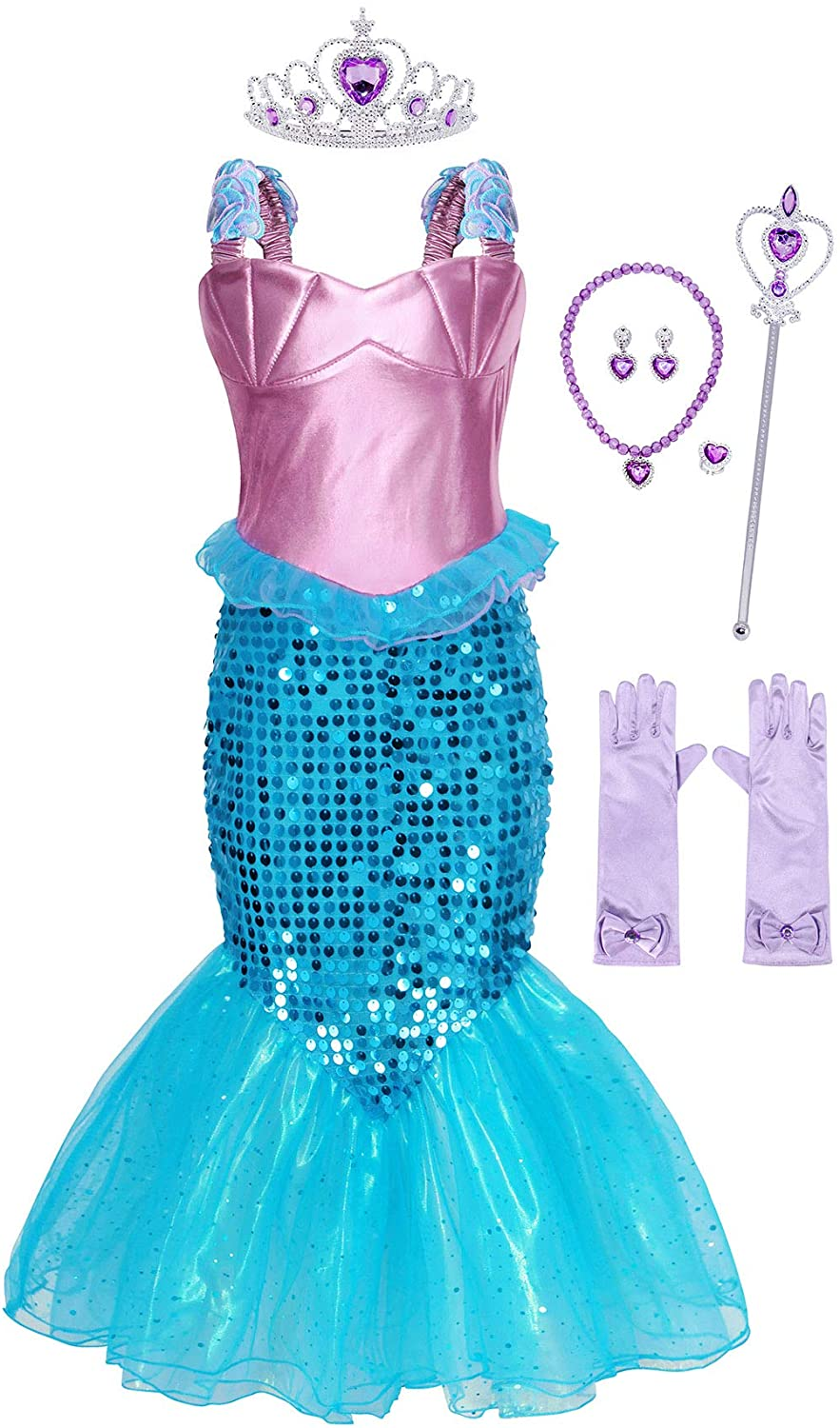 AmzBarley Princess Mermaid Outfits for Girls Sequins Outfits Birthday Party Cosplay Role Play Dress Up with Accessories