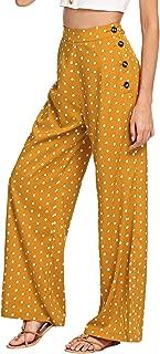 Verdusa Women's High Waist Button Fly Wide Leg Pants Long Palazzo Trousers