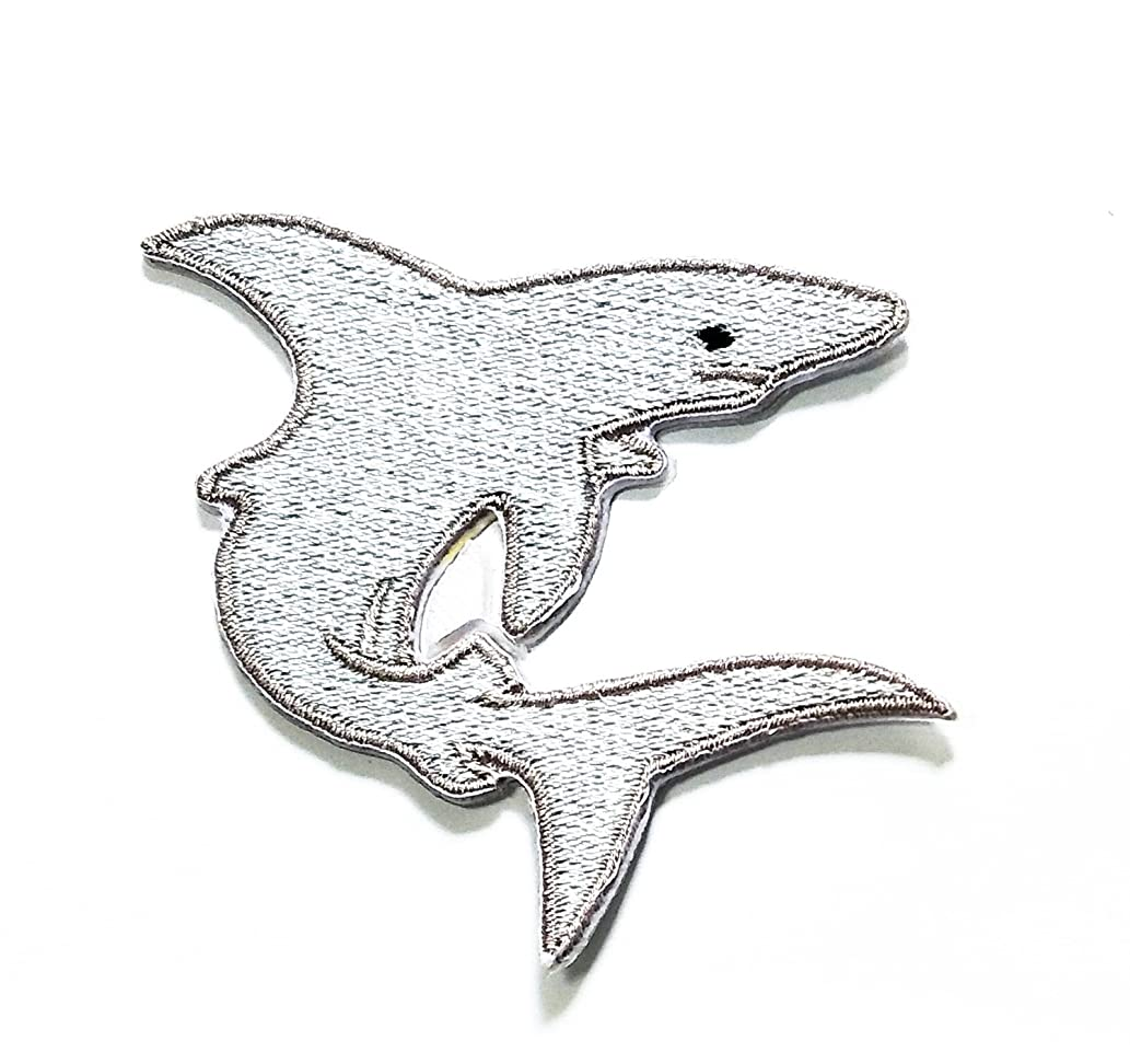 HHOCute Shark Gray Cartoon Kid Patch Embroidered DIY Patches, Cute Applique Sew Iron on Kids Craft Patch for Bags Jackets Jeans Clothes