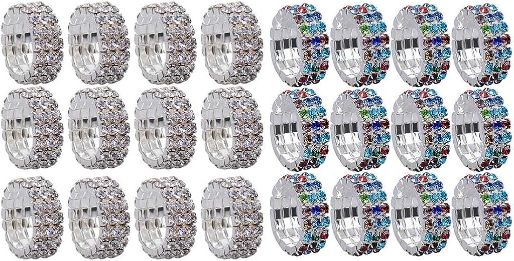 Bonarty 24pcs Multi Triple Row Rhinestone Band Ring Elastic Stretch Toe Ring Jewelry