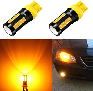 Alla Lighting 2800lm 7440 7443 LED Bulbs Xtreme Super Bright T20 7441 7442 7444NAK 7443LL LED Bulb 5730 33-SMD Car Truck Turn Signal Blinker Lights Replacement, Amber Yellow