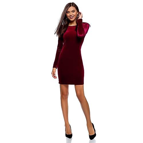 73691b459 oodji Ultra Mujer Vestido de Terciopelo con Escote en V en la Espalda
