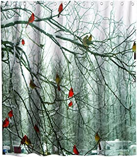 Final Friday Forest Shower Curtains Cute Cardinal Birds on Branch Theme Cloth Fabric Bathroom Decor Sets with Hooks Waterproof Washable 70 x 70 inches Red White and Brown