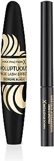 MAX FACTOR Voluptuous False Lash Effect Mascara Extreme Black with Colour Expert Eyeliner 01 Deep Black, 13g - Pack of 1
