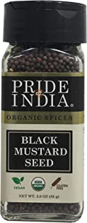 Pride Of India - Organic Black Mustard Seed Whole -2.9 oz(82.2 gm) Dual Sifter Jar Certified Pure Indian Vegan Spice, Best...