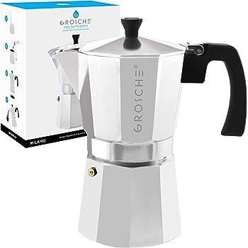 GROSCHE Milano Stovetop Espresso Maker Moka Pot 9 espresso cup, 15.2 oz, Silver Cuban Coffee Maker Stove top coffee maker Moka Italian espresso greca coffee maker brewer percolator