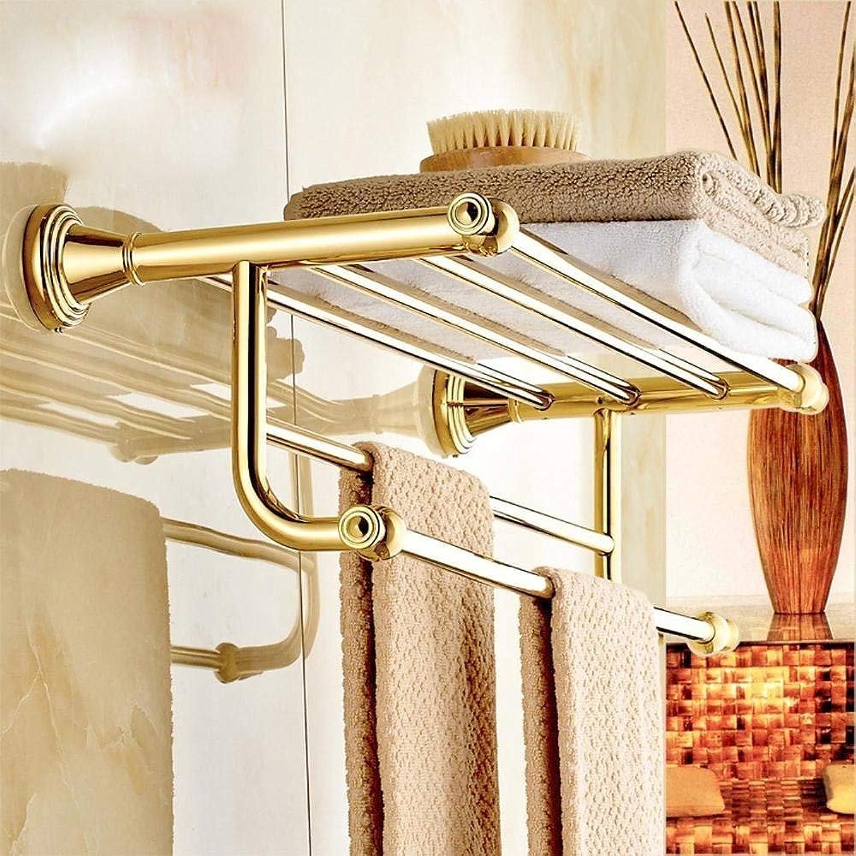 In Massive Brass of European Style, Dry-Towels, Functional Bathroom Racks of gold, Three Levels, Bathroom Dry-Towels