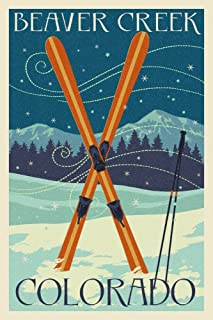 Beaver Creek, Colorado - Crossed Skis - Letterpress (12x18 Fine Art Print, Home Wall Decor Artwork Poster)