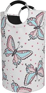 Panier à linge rond, panier à linge de fleur de papillons seau pliant sac de vêtements bacs de rangement pour l'organisati...