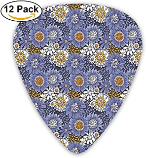 Dibujados a mano Flores Margaritas Doodle Espirales Puntos Artísticos Natural Retro Guitar Picks 12 / Pack