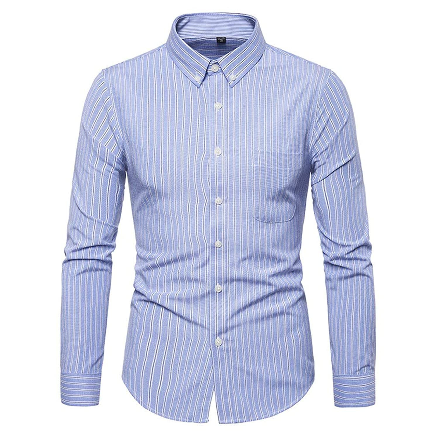 JJLIKER Mens Striped Dress Shirts Slim Fit Long Sleeve Button Down Shirts Wrinkle Free Casual Pocket Shirts for Adult