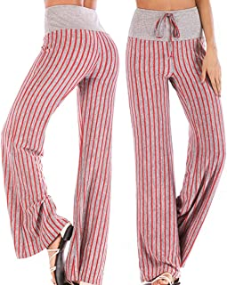 CROSS1946 Fashion Women's Striped High Waist Yoga Drawstring Pants Straight-Leg Workout Trousers Loose Fit L