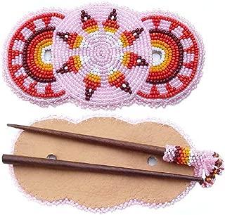 VivaApparel Handmade Seed Beaded Barrette Wood Stick Slide Pink Star Rosettes Hair Accessories Z40/2