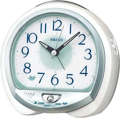 セイコークロック 白パール 13×14×9.6cm 置き時計 目覚まし時計 卓上時計 テーブルクロック アナログ QM748W