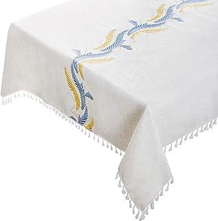 Nappe rectangulaire coton et lin - 140 x 180 cm - Rectangulaire avec motifs brodés,pompons - Beige broderies 2 couleurs - ...