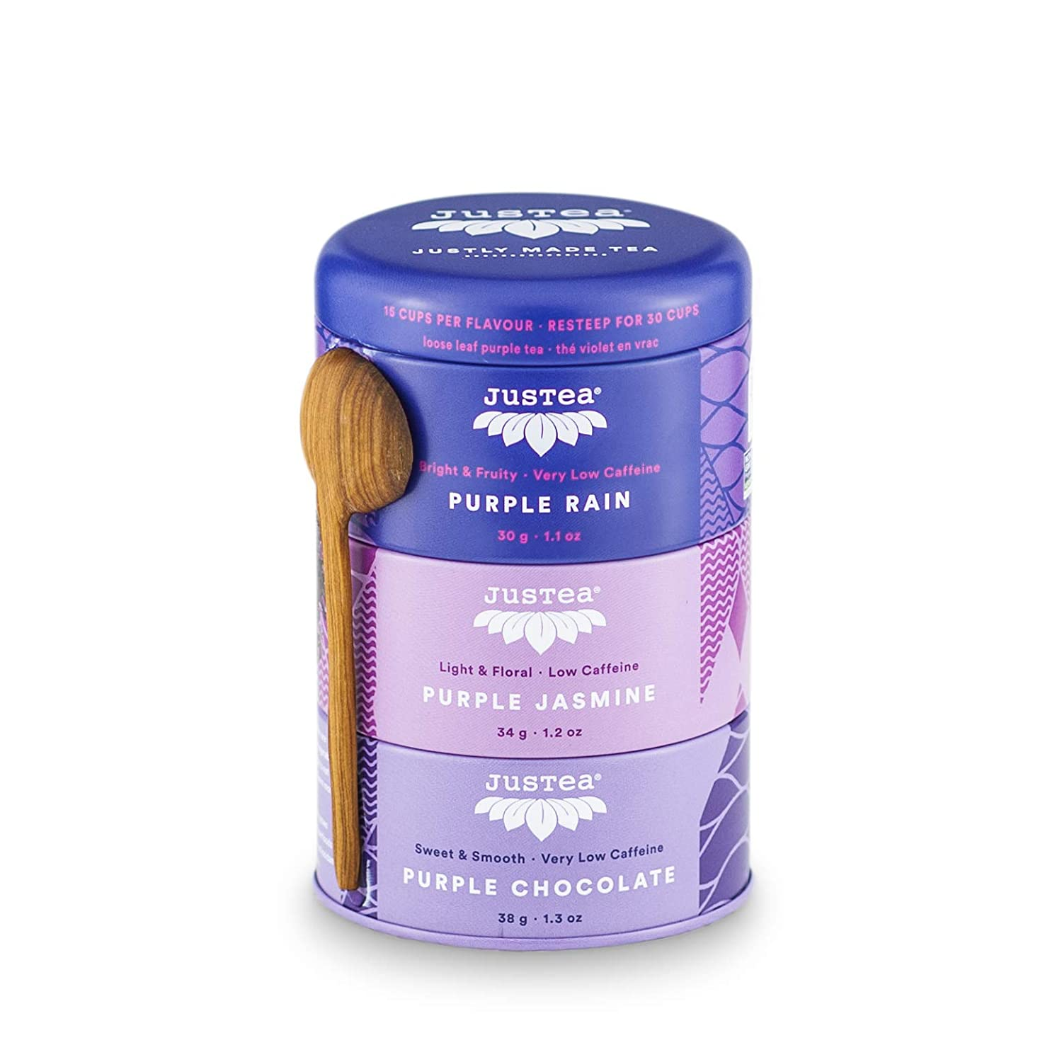 JusTea Purple Tea Trio Stacking Tins Super special price Ca Hand Variety Pack OFFer with