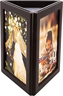simpdecor Picture Frame 5x7 Three-Sided Photo Frame with Light Display on Tabletop or Shelf for Home Desk Kids Art