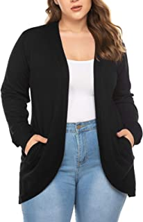 Chigant Womens Plus Size Cardigans Open Front Long Sleeve Knit Cardigans Sweater Soft Basic Sweaters Coat with Pockets