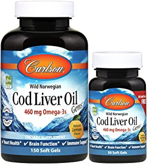 Carlson - Cod Liver Oil, 460 mg Omega-3s, Norwegian, Sustainably Sourced, Lemon, 150+30 Soft gels