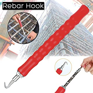 Gotian 30cm Rebar Hook, Tie Wire Twister Automatic Concrete Metal Wire Twisting Fence Tool (Red)