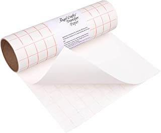 Angel Crafts Transfer Paper Tape: Craft Transfer Tape for Vinyl Application with Red Grid Lines - Self Adhesive Transfer Paper Roll Compatible with Cricut, Silhouette Cameo - 12 Inch by 8 Feet, White