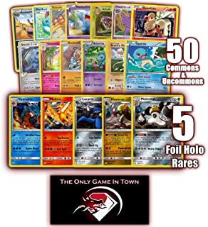 50 Pokemon Cards Plus 5 Rare Holo Foil and Learn to Play Pokemon Instructions