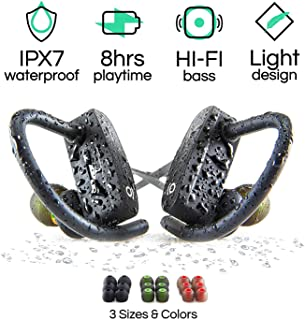 Wireless Bluetooth Sport Earbuds for Running, Workouts and Exercise, HiFi Stereo, IPX7 Waterproof Headphones with Mic and Noise Cancelling, Best 8 Hour Battery Life