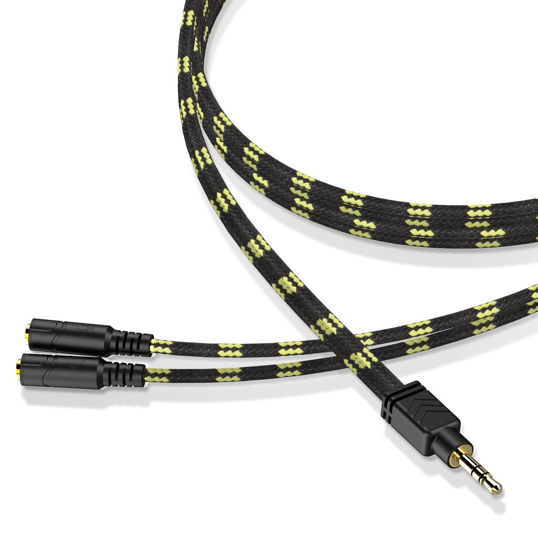 Long Headphone Splitter, DUKABEL Knitted 3.5mm Audio Splitter TRS 3-Pole Splitter Cable for Headphones Earphones Speakers -100CM(Black Bee )