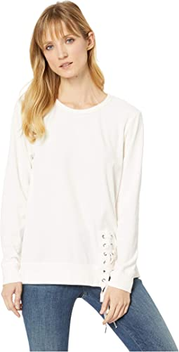 Velour Sweatshirt with Asymmetrical Lace-Up
