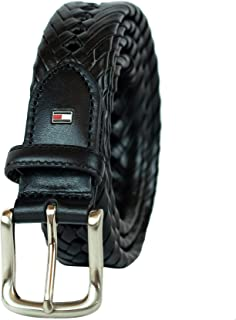 Leather Braided Belt - Casual for Mens Jeans with Solid Strap Single Prong Buckle