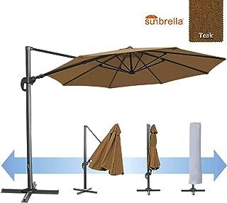 BenefitUSA 11.5' Outdoor Deluxe Sunbrella Patio Umbrella Off-Set Hanging Roma Umbrella Tilt & 360 Rotation Patio Heavyduty Sunshade Cantilever Crank(Steel Cross Base is Included) (Teak)