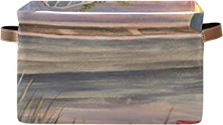 Boîte de rangement bacs de rangement décoratifs pour étagères, paniers de rangement de salle de bain avec poignées en cuir...