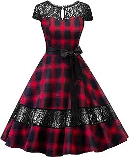 Women's Elegant Rockabilly Patchwork Cap Sleeve Party Dress Casual Dress
